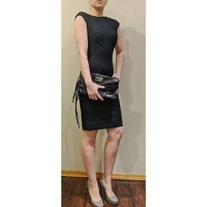 Bebe Black Weaved Logo Faux Leather Foldover Bag